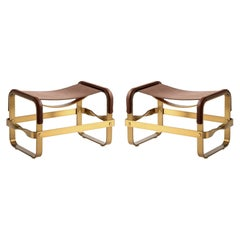 Set of 2 Footstool Aged Brass Steel and Brown Leather, Contemporary Style