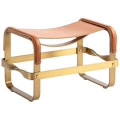 Footstool Aged Brass Steel and Natural Leather, Contemporary Style