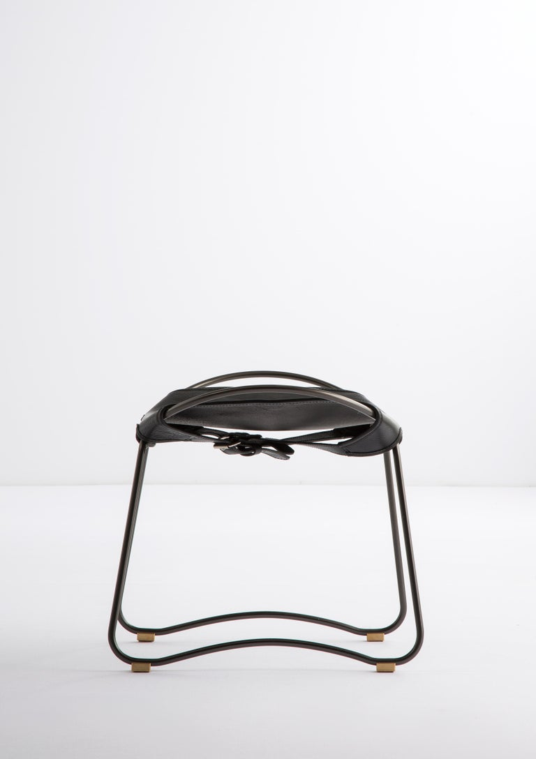 Modern Footstool, Black Smoke Steel and Black Saddle Leather, HUG COLLECTION.  For Sale