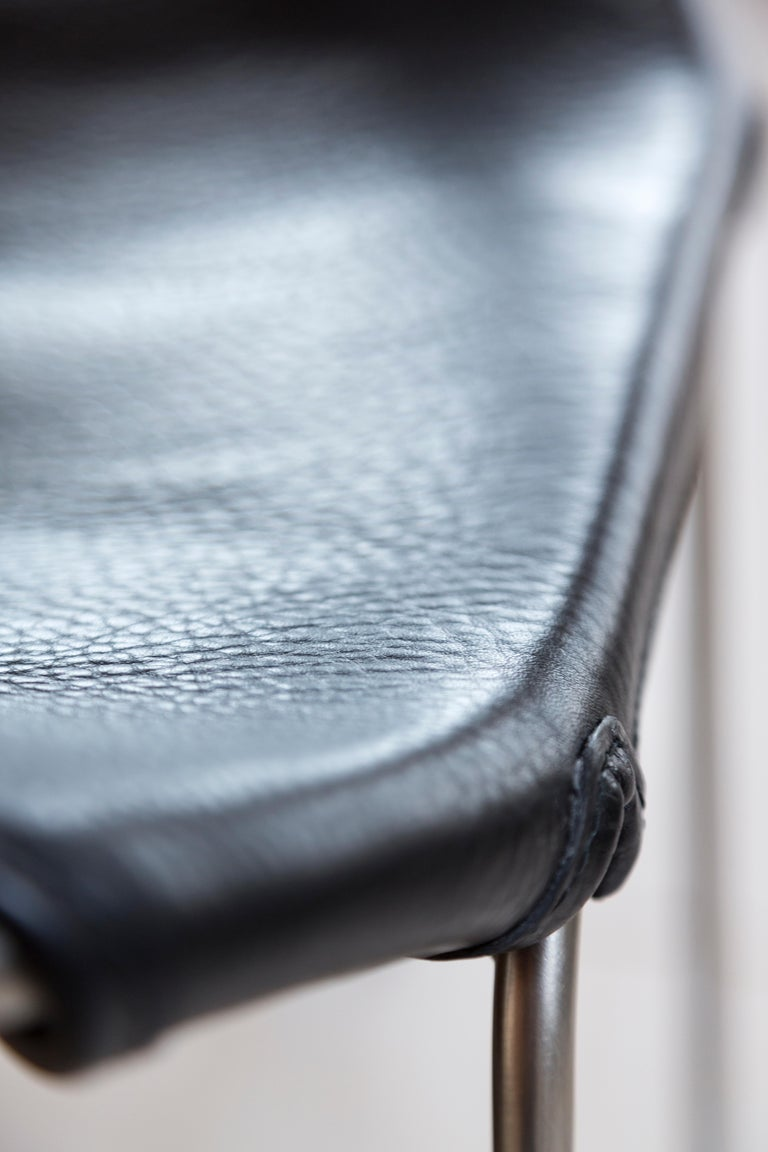 Lacquered Footstool, Black Smoke Steel and Black Saddle Leather, HUG COLLECTION.  For Sale