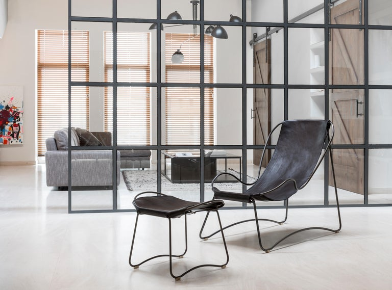 Contemporary Footstool, Black Smoke Steel and Black Saddle Leather, HUG COLLECTION.  For Sale