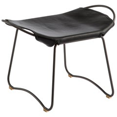 Footstool, Black Smoke Steel and Black Saddle Leather, HUG COLLECTION.