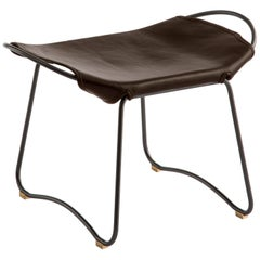 Footstool Black Steel and Dark Brown Saddle Leather, Modern Style, HUG