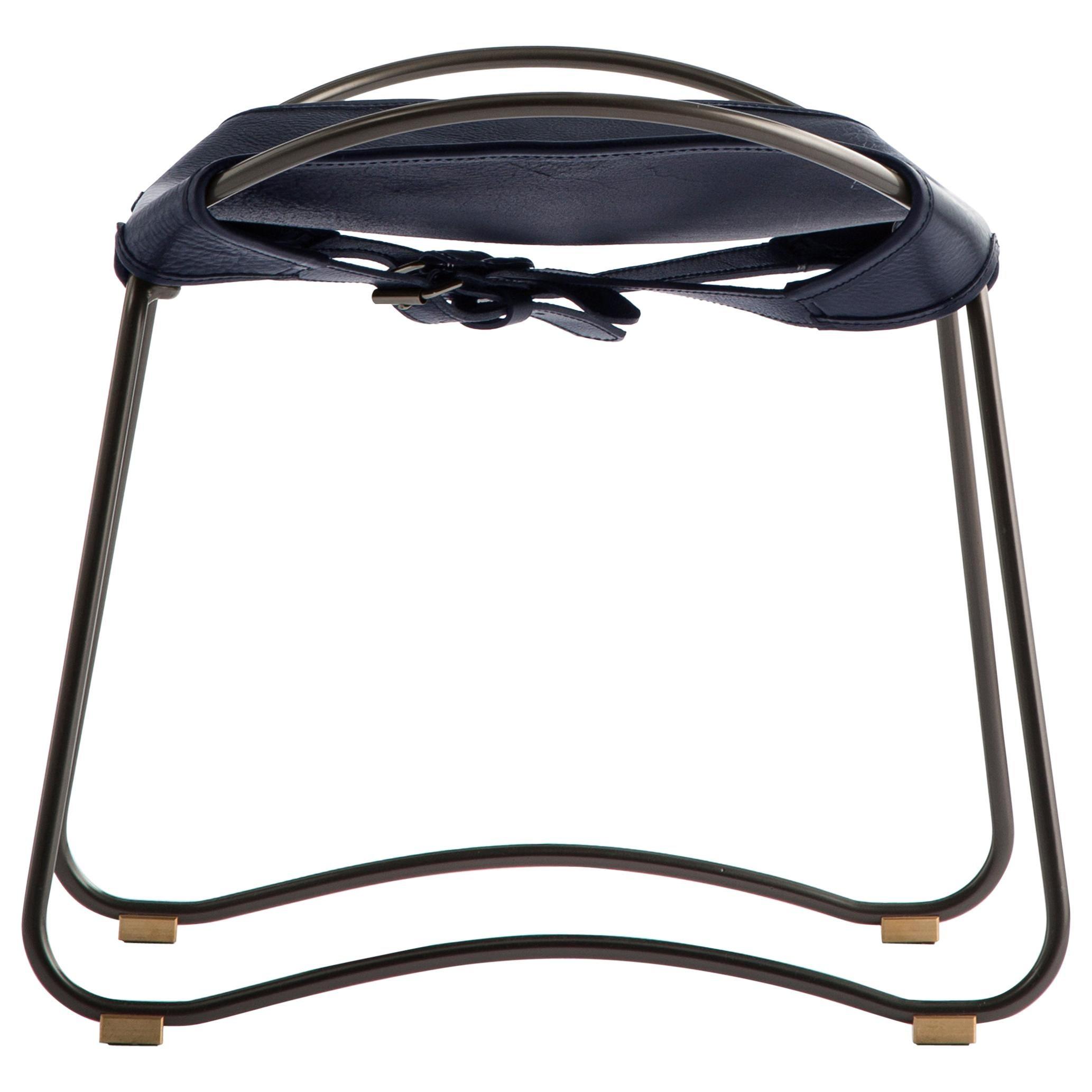 Footstool Black Steel and Navy Saddle Leather, Modern Style, HUG