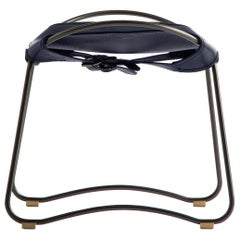 Footstool Black Steel and Navy Saddle Leather, Modern Style, HUG