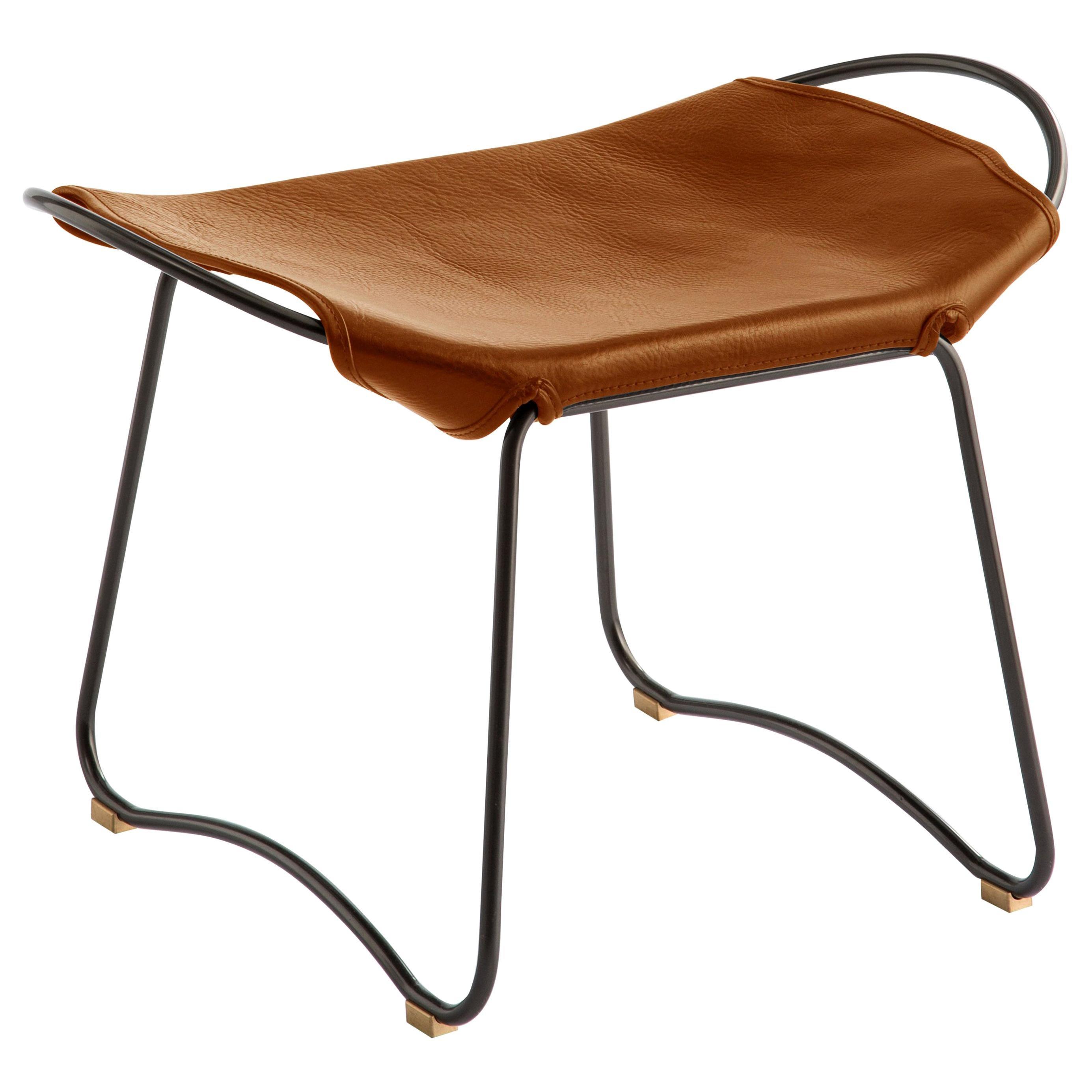 Footstool, Black Steel and Vegetable Tobacco Leather, Modern Style, Hug