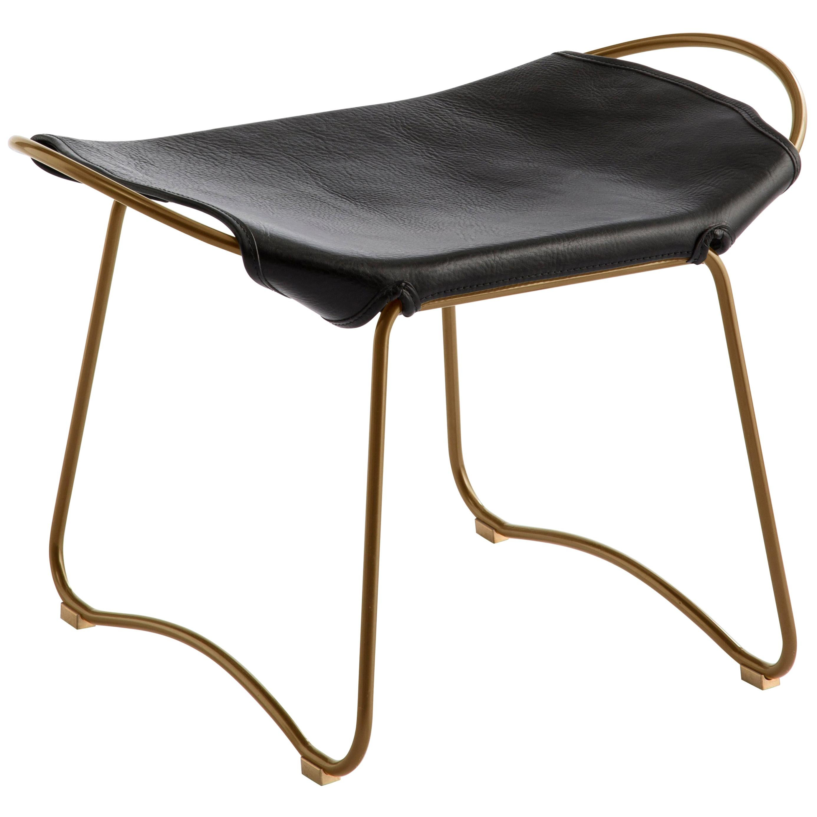Footstool, Brass Steel and Black Saddle Leather, Modern Style, Hug Collection