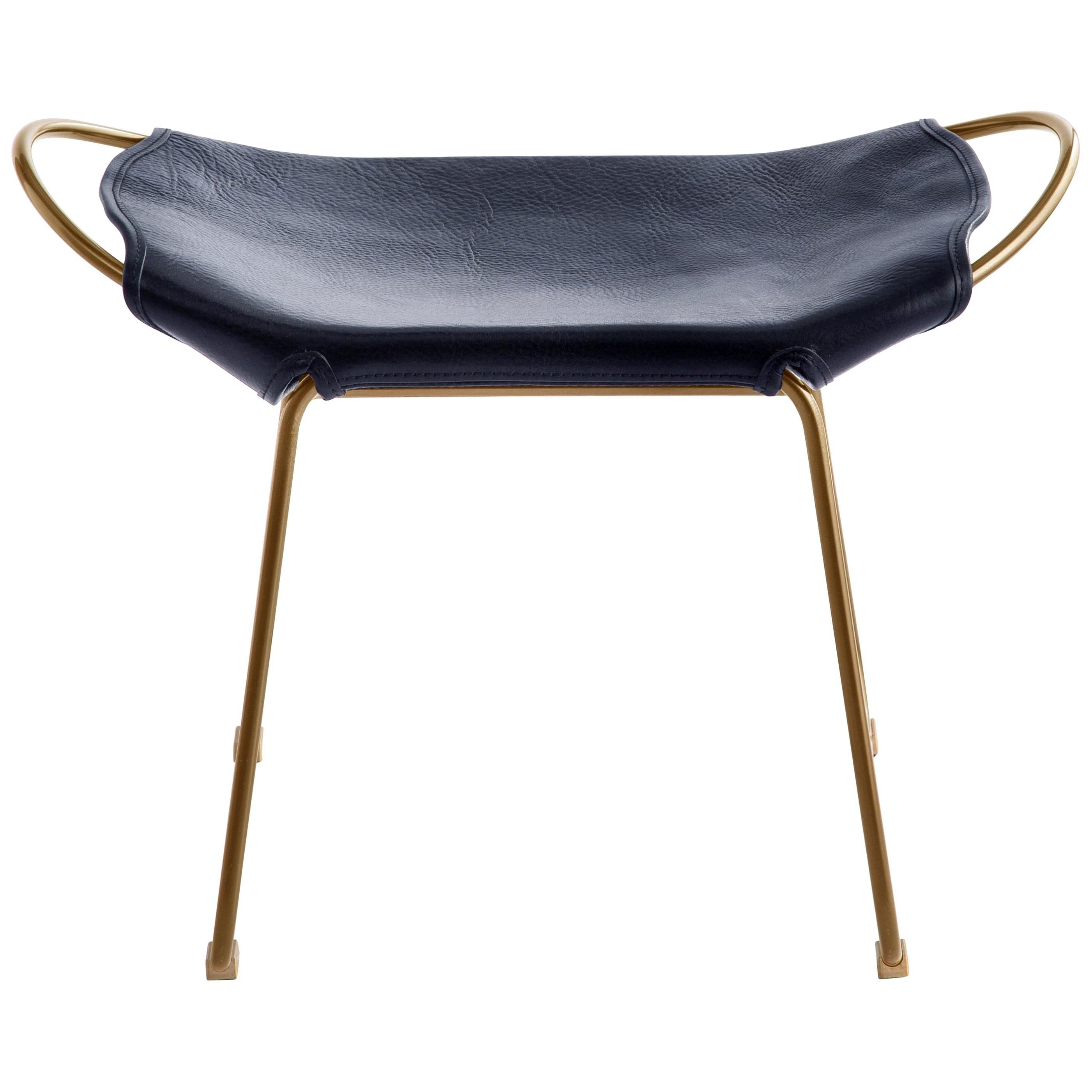 Footstool, Brass Steel and Blue Saddle Leather, Hug Collection