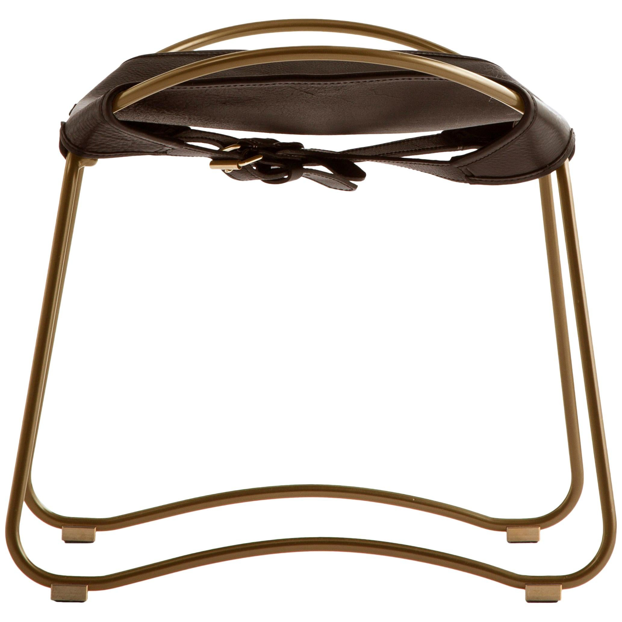 Footstool Brass Steel and Dark Brown Saddle Leather, Hug Collection