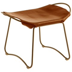 Footstool Brass Steel and Tobacco Leather, Modern Style, Hug Collection