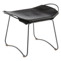HUG Footstool Old Silver Steel and Vegetable Tanned Black Saddle Leather
