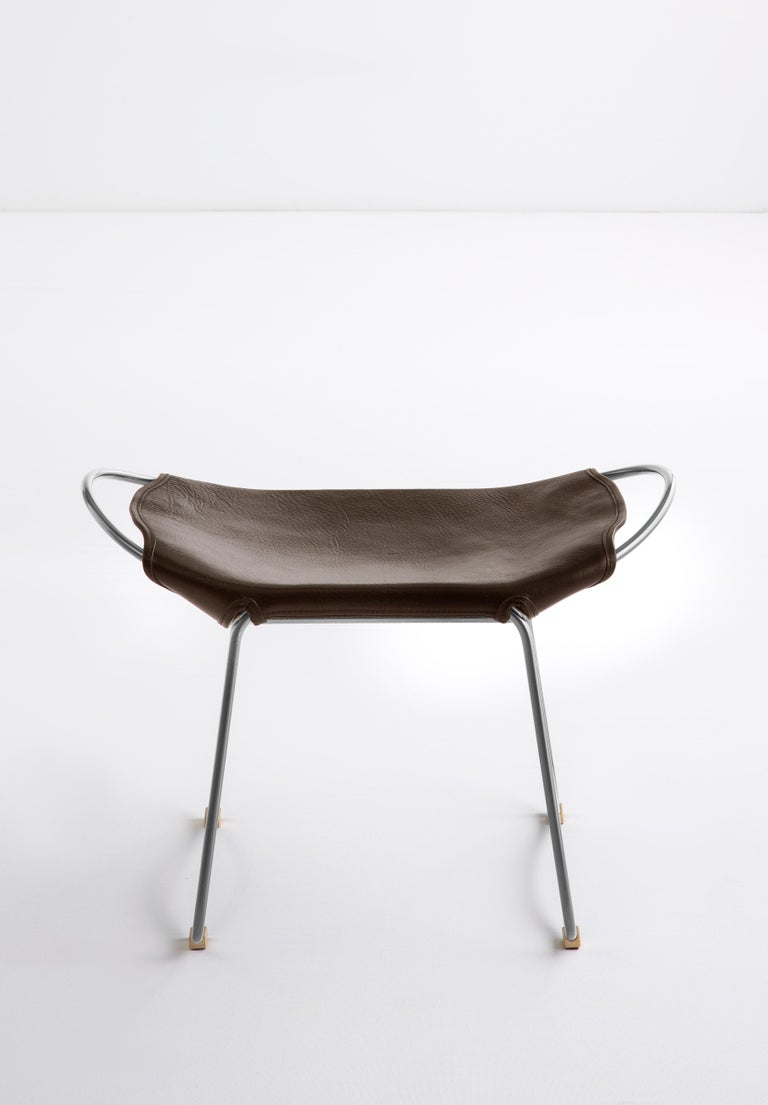 Spanish Footstool, Silver Steel and Dark Brown Saddle Leather, Modern Style, Hug For Sale