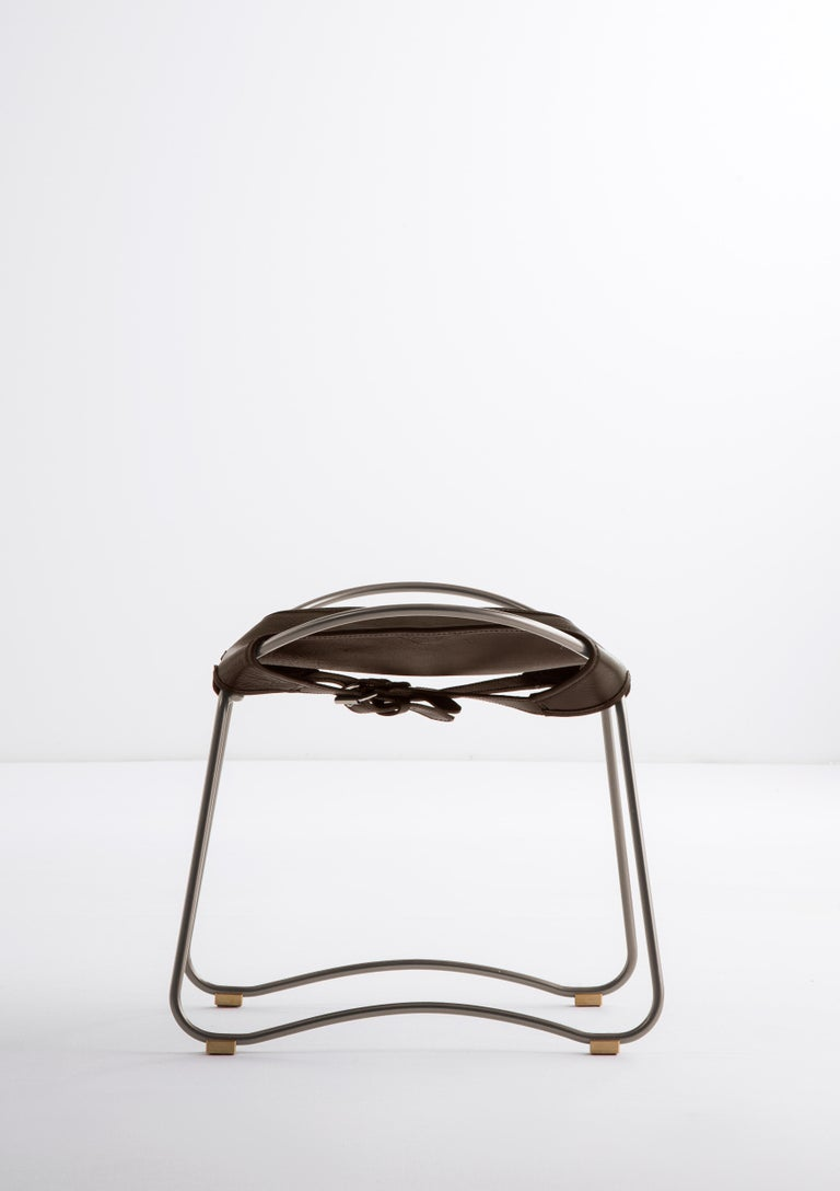 Lacquered Footstool, Silver Steel and Dark Brown Saddle Leather, Modern Style, Hug For Sale