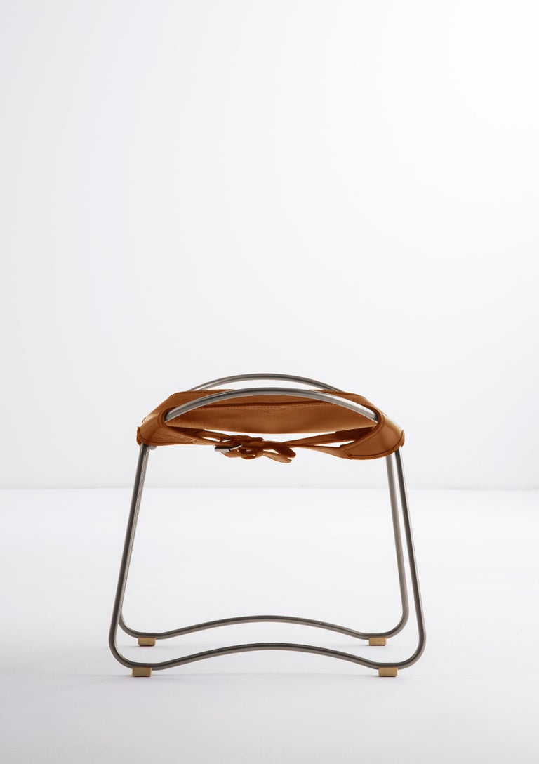 Modern Footstool Silver Steel and Natural Tobacco Leather, Hug Collection For Sale