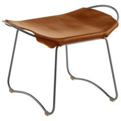 HUG Footstool Old Silver Steel and Vegetable Tanned Natural Tobacco Leather