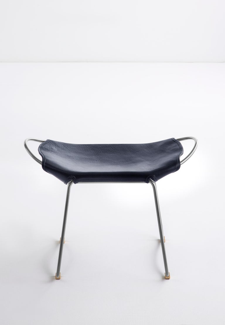 Organic Modern Footstool, Silver Steel and Vegetable Navy Leather, Modern Style  For Sale