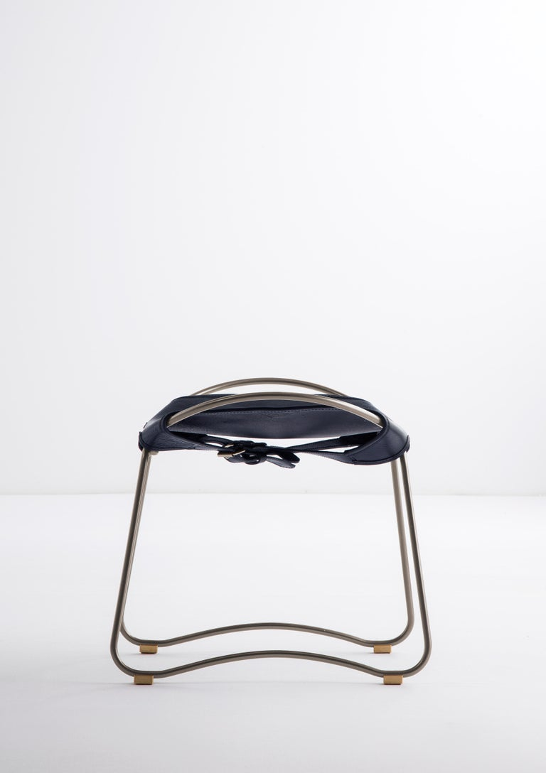 Spanish Footstool, Silver Steel and Vegetable Navy Leather, Modern Style  For Sale
