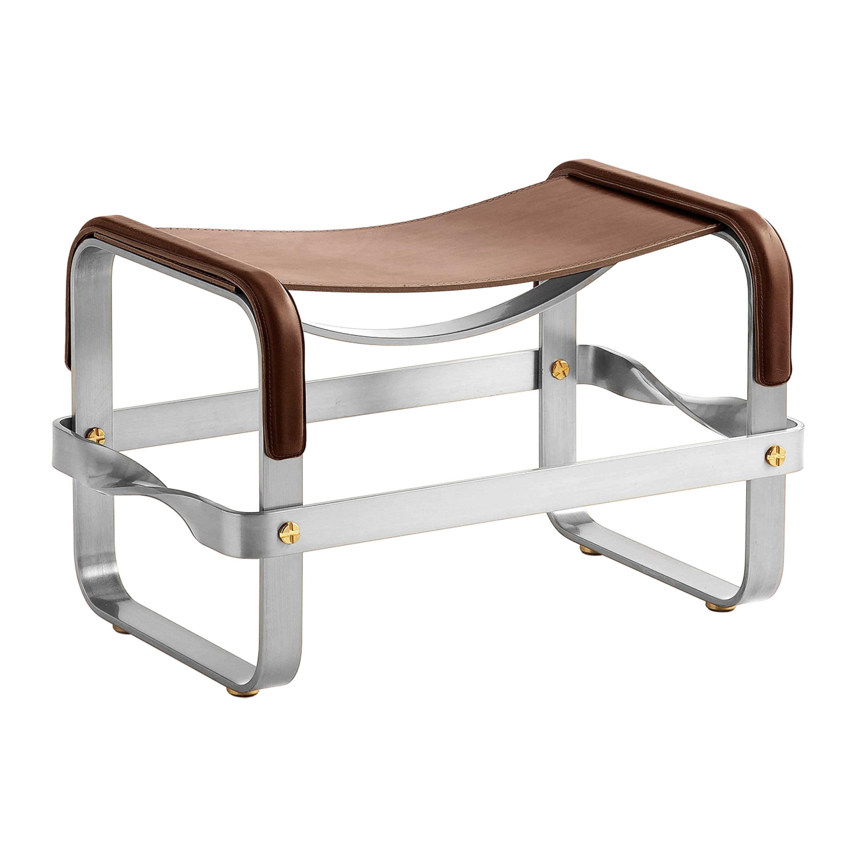 Footstool Old Silver Steel & Dark Brown Saddle Leather, Contemporary Style
