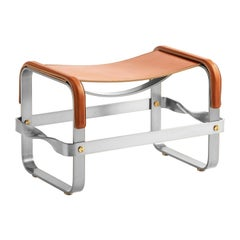 Footstool Old Silver Steel & Natural Tobacco Leather, Contemporary Style