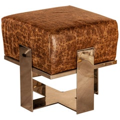 Footstool or Stool Everest Faux Crocodile Leather and Nickel-Plated Solid Brass