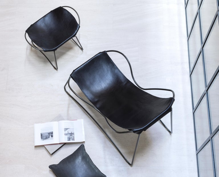 Contemporary Footstool, Silver Steel and Dark Brown Saddle Leather, Modern Style, Hug For Sale