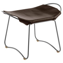 Footstool, Silver Steel and Dark Brown Saddle Leather, Modern Style, Hug