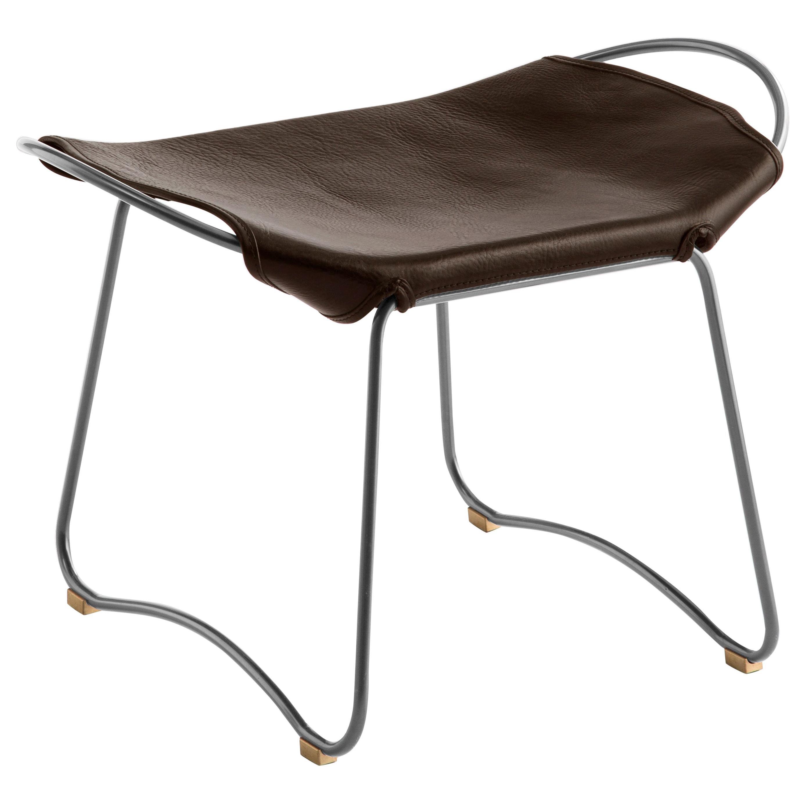 Footstool, Silver Steel and Dark Brown Saddle Leather, Modern Style, Hug