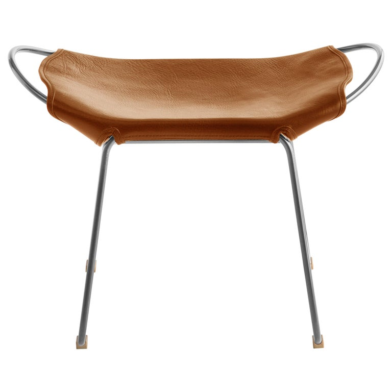 Footstool Silver Steel and Natural Tobacco Leather, Hug Collection For Sale