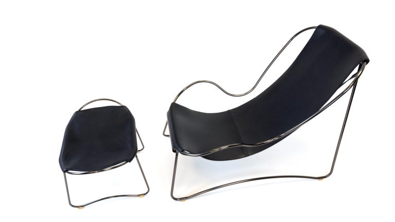 Footstool, Silver Steel and Vegetable Navy Leather, Modern Style  For Sale 8