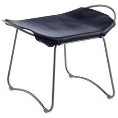 Footstool, Silver Steel and Vegetable Navy Leather, Modern Style Wanderlust