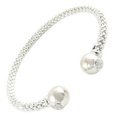 FOPE 18 Karat White Gold Diamond Mesh Open Cuff Bracelet