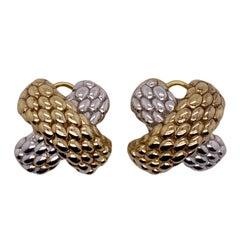 Fope 18 Karat Yellow White Gold 'X' Leverback Earrings