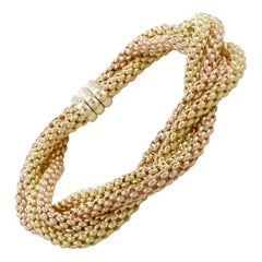 Fope 18 Karat Yellow and Rose Gold Two-Tone Weave Bracelet