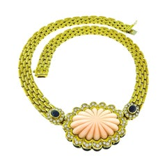 Fope Coral Diamond Sapphire Gold Necklace