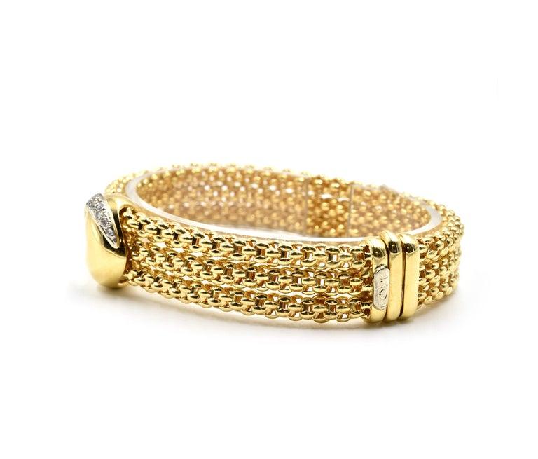 Modern Fope Diamond Heart Bracelet 18 Karat Yellow Gold For Sale