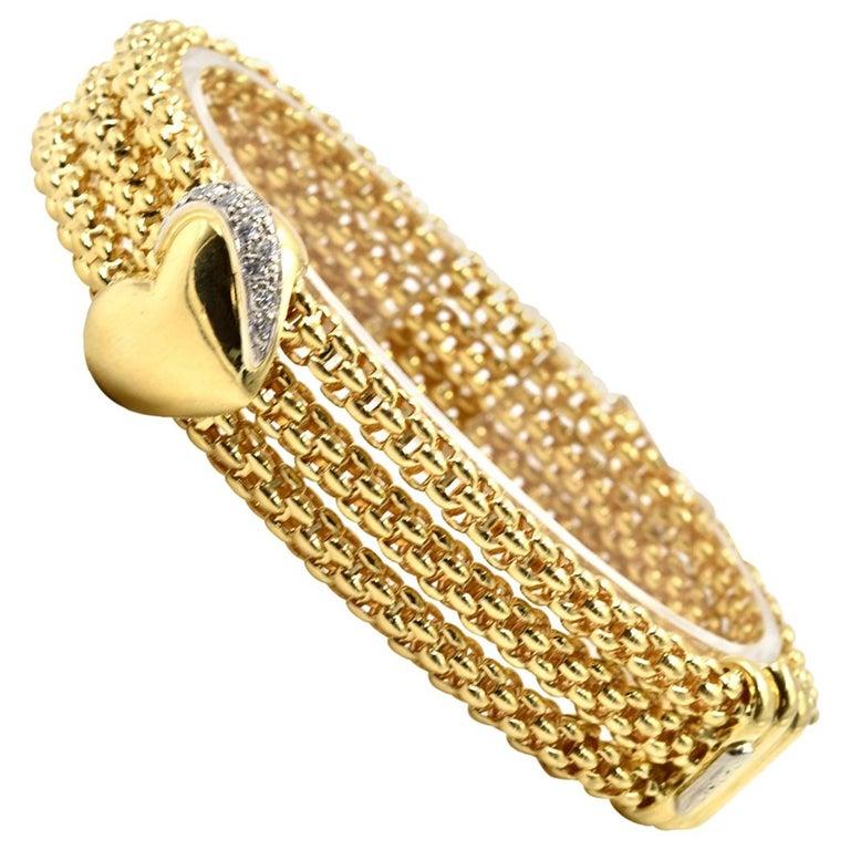 Fope Diamond Heart Bracelet 18 Karat Yellow Gold For Sale