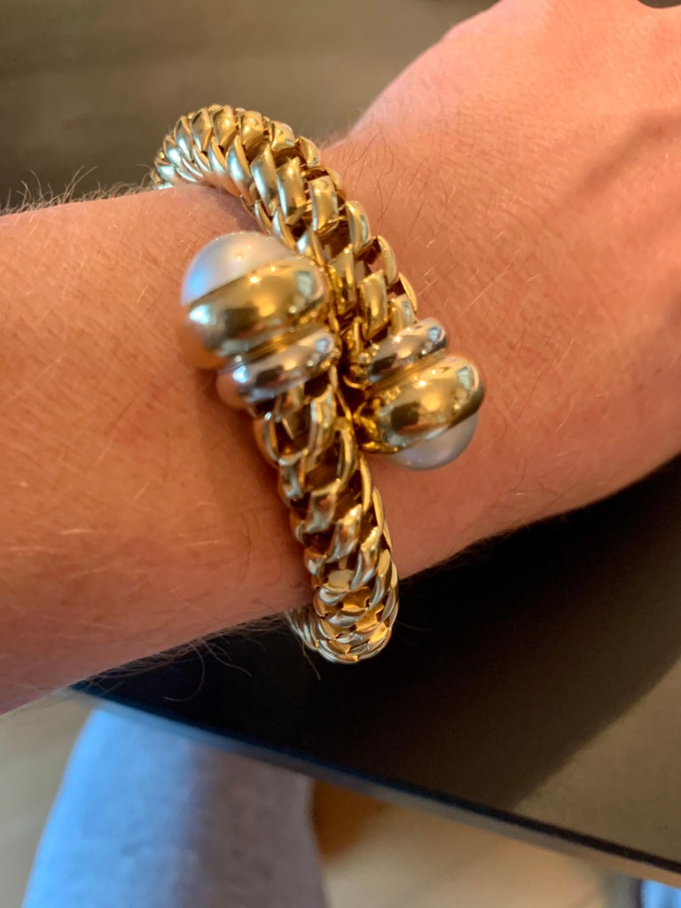 Fope Italian 18 Karat Yellow Gold Coil Bracelet Pearl Endcaps For Sale 4