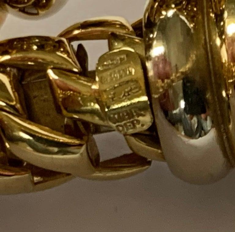 Fope Italian 18 Karat Yellow Gold Coil Bracelet Pearl Endcaps For Sale 2