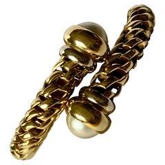 Fope Italian 18 Karat Yellow Gold Coil Bracelet Pearl Endcaps