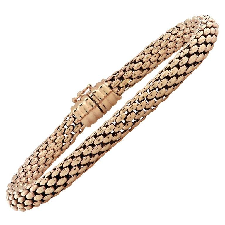 Fope Italy Flex 'It 18 Karat Rose Gold Bangle Bracelet For Sale