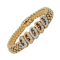 FOPE Novecento Mesh Tri-Tone 18 Karat Gold and Pave Diamond Bracelet .75 Carats