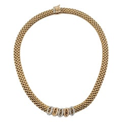 Fope Novecento Mesh Tri-Tone 18 Karat Gold and Pave Diamond Necklace .75 Carats