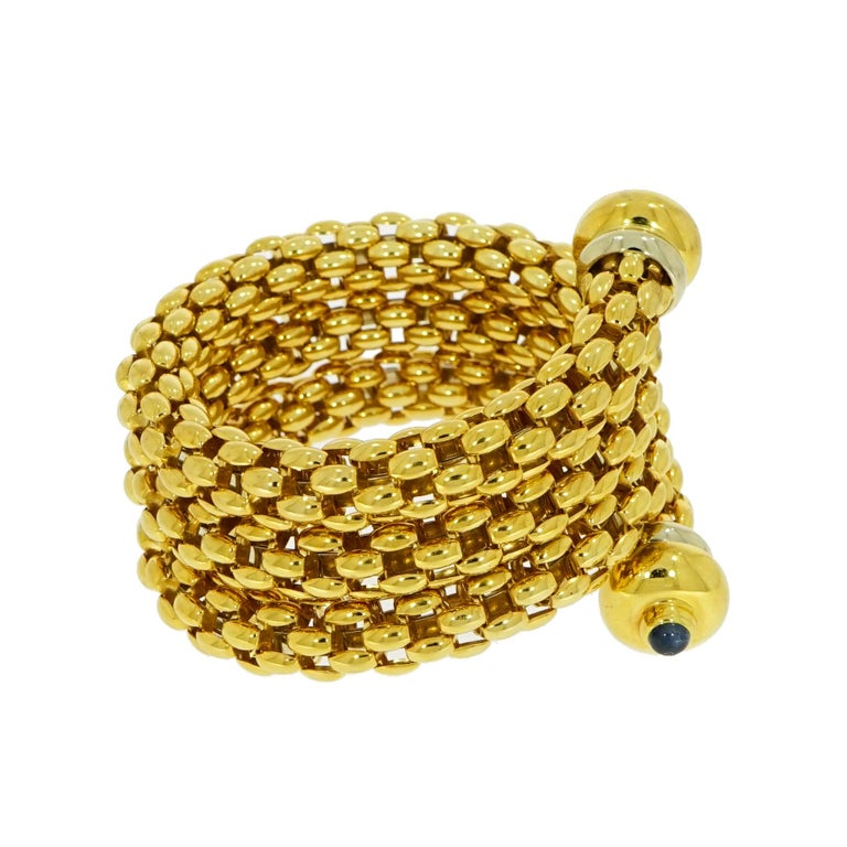 Contemporary Fope Yellow Gold Coil Cuff Bracelet For Sale