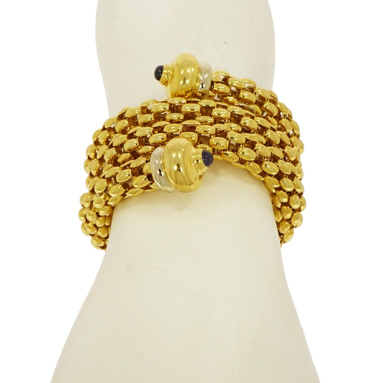 Round Cut Fope Yellow Gold Coil Cuff Bracelet For Sale
