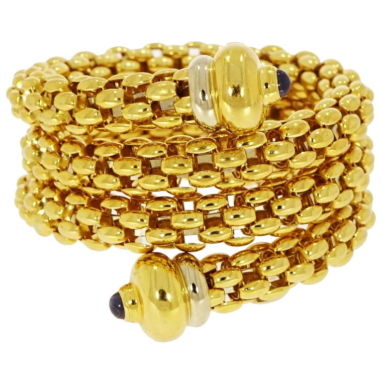 Fope Yellow Gold Coil Cuff Bracelet For Sale