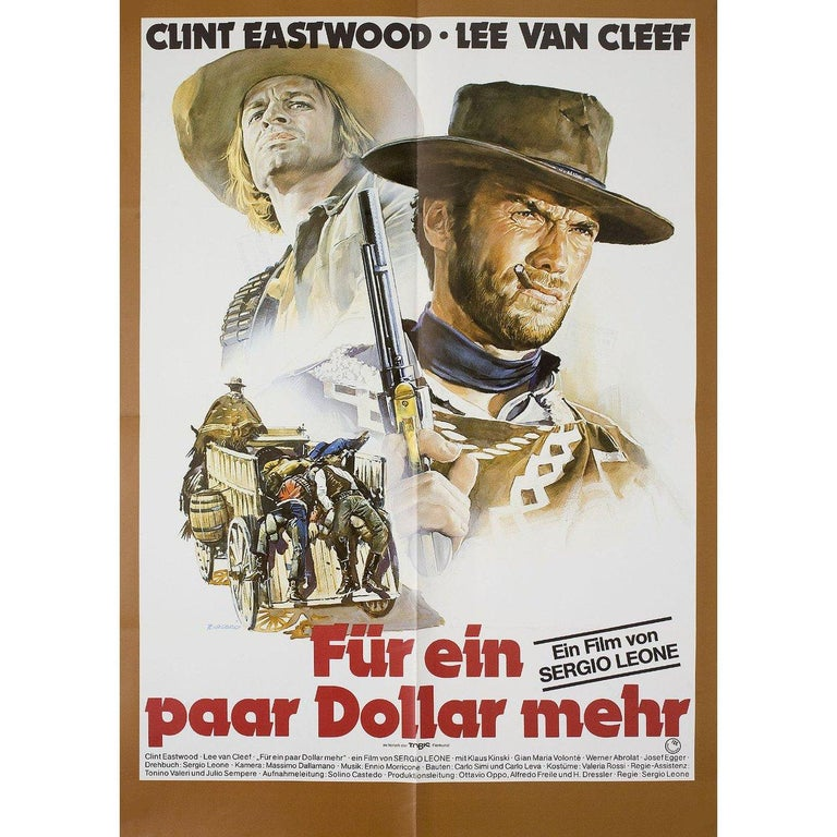 Original 1978 re-release German A1 poster by Renato Casaro for the 1965 film 'For a Few Dollars More' (Per qualche dollaro in piu) directed by Sergio Leone with Clint Eastwood / Lee Van Cleef / Gian Maria Volonte / Mario Brega. Very good-fine