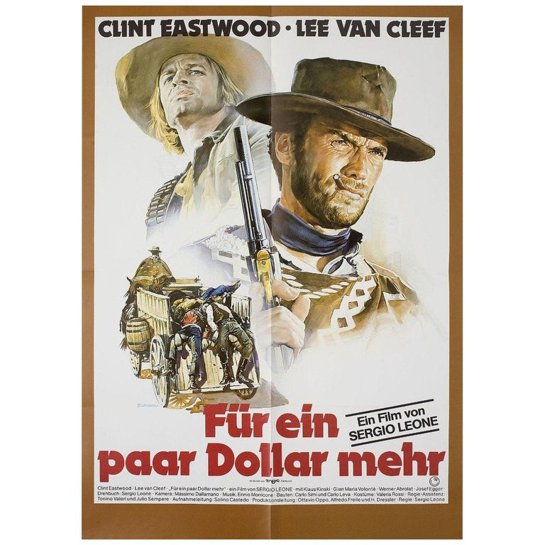 'For a Few Dollars More' R1978 German A1 Film Poster For Sale