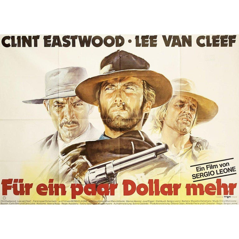 Original 1980s re-release German A0 poster by Renato Casaro for the 1965 film For a Few Dollars More (Per qualche dollaro in piu) directed by Sergio Leone with Clint Eastwood / Lee Van Cleef / Gian Maria Volonte / Mario Brega. Very good-fine