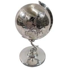 For Office Détente Cold War-Era Sterling Silver Desk Globe