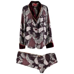 For Restless Sleepers Burgundy Insect Print Silk Suit S